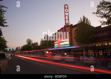 Historic Tower theater and shops on Wall Street in Downtown Bend Oregon. - Stock Photo
