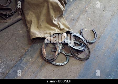 horseshoes on floor - Stock Photo
