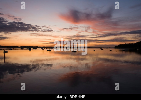 Early morning reflections on the River Stour, Essex, England - Stock Photo