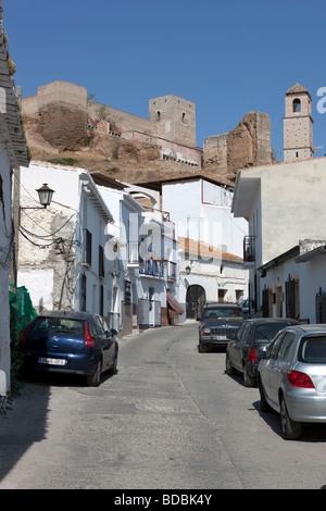 White village Alora and Castilo Arabe.. Malaga. Valle del Sol. Andalucia. Spain. Europe - Stock Photo