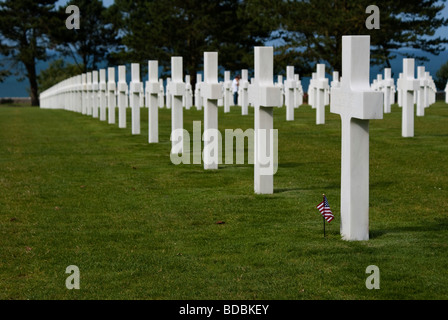 Normandy American Cemetery and Memorial in omaha beach in Colleville-sur-Mer - Stock Photo