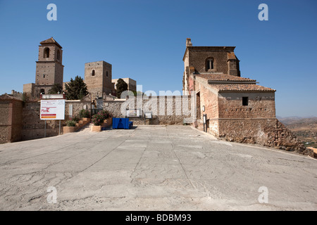 Castillo Arabe and Church.  Alora. Malaga. Valle del Sol. Andalucia. Spain. Europe - Stock Photo