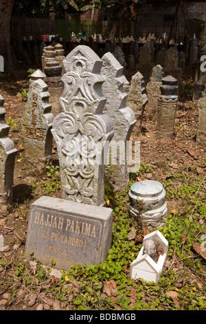 Indonesia Sulawesi Sidereng muslim cemetery unusually shaped gravestones - Stock Photo