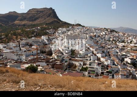 View at the white village Alora. Malaga. Costa del Sol. Andalucia. Spain. Europe - Stock Photo