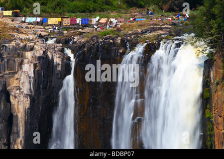 Washing hanging out to dry above Howick Falls at Howick, near Pietermaritzburg in Kwazulu Natal, South Africa - Stock Photo