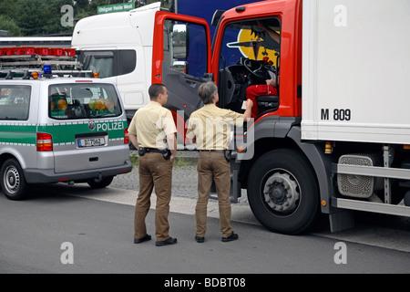 Police control, Germany - Stock Photo