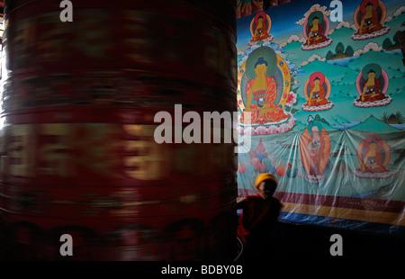 Bodhnath Bodnath Boudhanath largest Buddhist stupa Nepal Kathmandu red golden big prayer wheel mill color colorful - Stock Photo