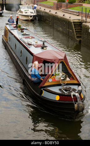 Narrow boat on the River Thames at Hambleden lock Mill End Bucks UK - Stock Photo