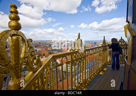 View of Copenhagen from the top of Our Saviours Church - Stock Photo