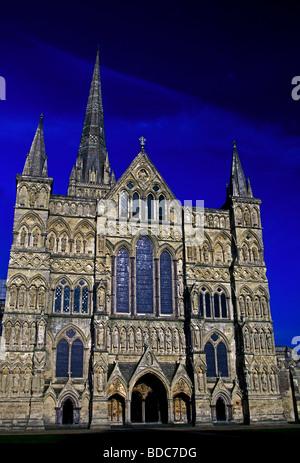 west facade, Salisbury Cathedral, Salisbury, Wiltshire County, England, Europe - Stock Photo