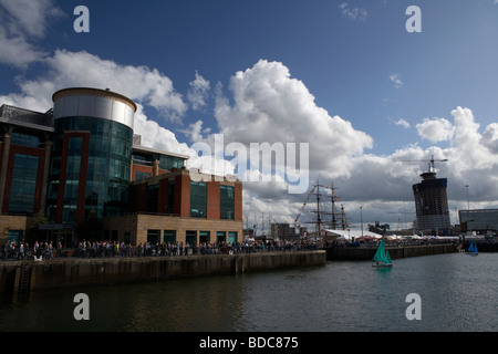 modern office building in the redeveloped clarendon dock port of belfast belfast northern ireland uk - Stock Photo