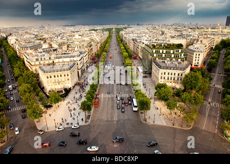 Champs Elysee and view of Paris from top of Arc de Triomphe, France - Stock Photo