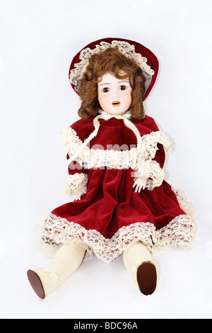 Vintage 19th century Victorian German bisque doll cutout, cut out - Stock Photo