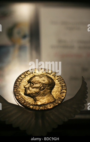 Nobel prize medal given to the guatemalan Rigoberta Menchu, which was put in Mexico in the Templo Mayor. - Stock Photo