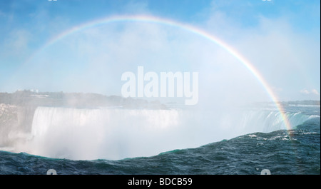 Rainbow over Niagara Falls Horseshoe waterfall Ontario Canada - Stock Photo