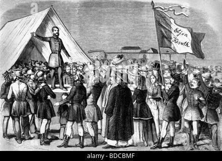 Kossuth, Lajos, 16.9.1802 - 20.3.1894, Hungarian politician, scene, instigation of weaponization the posse comitatus - Stock Photo