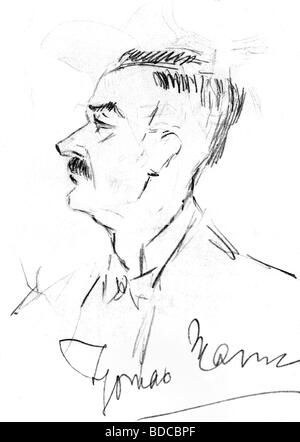 Mann, Thomas, 6.6.1875 - 12.8.1955, German author / writer, self-portrait with signature, 1928, Additional-Rights - Stock Photo