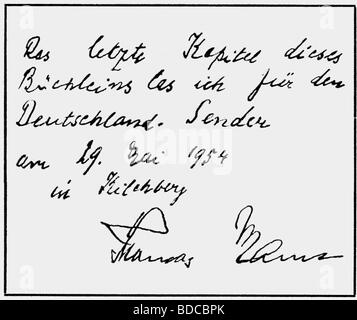 Mann, Thomas, 6.6.1875 - 12.8.1955, German author / writer, his signature, 1954, Additional-Rights-Clearances-NA - Stock Photo