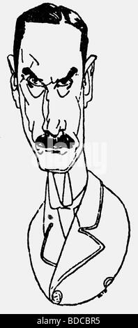 Mann, Thomas, 6.6.1875 - 12.8.1955, German author / writer, portrait, caricature, Additional-Rights-Clearances-NA - Stock Photo