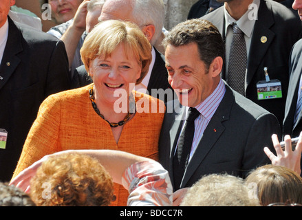 Merkel, Angela, * 17.7.1954, German poltician (CDU), chancellor, half length, with Nikolas Sarkozy, German - French - Stock Photo