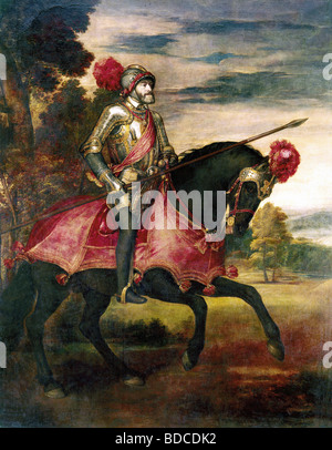 Charles V, 24.2.1500 - 21.9.1558, Holy Roman Emperor 26.10.1530 - 12.9.1556, at the Battle of Muehlberg on the river - Stock Photo