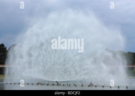 Fountain near Centennial Hall Wroclaw Poland - Stock Photo
