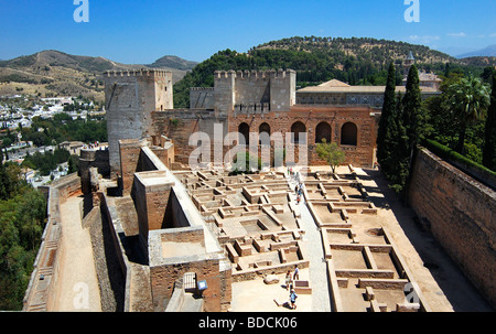 Ariel view of Alcazaba palace in the Alhambra - Stock Photo