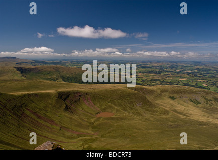 Llyn Cwm Llwch as viewed from Corn Du - Brecon Beacons National Park - South Wales. - Stock Photo