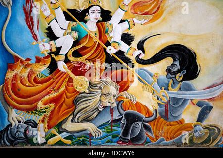 color colourful painting mural depicting shiva as a warrior hindu hindi god deity pashupatinath temple nepal - Stock Photo