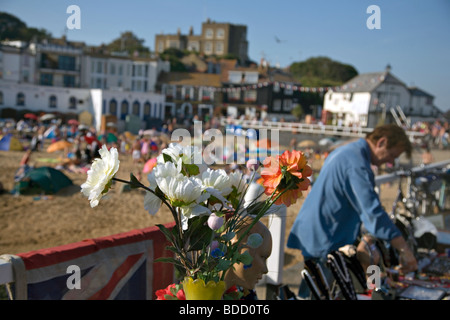flowers at a stall on the promenade the beach at broadstairs in kent england - Stock Photo