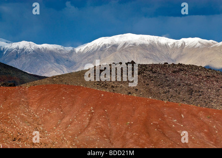 Colorful hills near Rainbow Canyon, Cottonwood Mountains in Panamint Range in dist, winter, Death Valley Nat. Park, - Stock Photo
