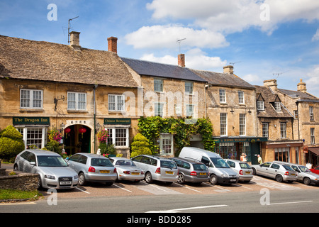 Old Cotswold stone shops in Burford, Oxfordshire, England UK - Stock Photo