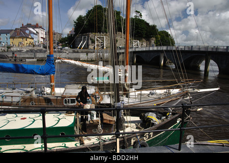Cardigan town with yachts in foreground on River Teifi - Stock Photo