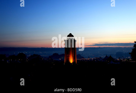 An Evening view of the Glastonbury festival 2009 - Stock Photo