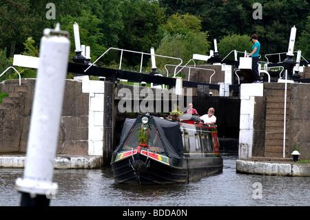 Narrowboat on Grand Union Canal at Knowle Locks, West Midlands, England, UK - Stock Photo
