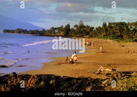 Relaxing on Ulua Beach on Maui - Stock Photo