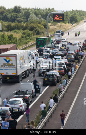 Road Traffic Accident On The M40 - Stock Photo