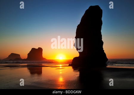 Monolith sea stacks and sunset at low tide. Samuel H. Boardman State Scenic Corridor. Oregon Stock Photo