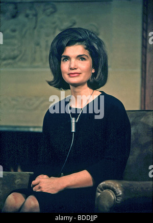JACKIE KENNEDY as wife of US President Kennedy prepares for an interview - Stock Photo