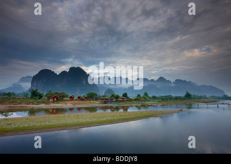 the Nam Song River at Vang Vieng, Laos - Stock Photo