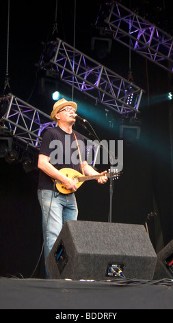 Ade Edmondson Young Ones Bad Shepherds playing at Fairport's Cropredy Convention friendly music festive near Banbury - Stock Photo
