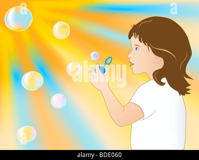 The girl to blow soap bubbles - Stock Photo