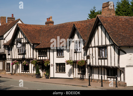 The old timber-framed Swan hotel and restaurant in Lavenham, Suffolk, England - Stock Photo