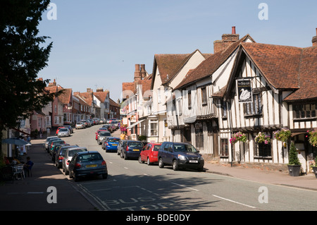 The high street in Lavenham, Suffolk, England - Stock Photo