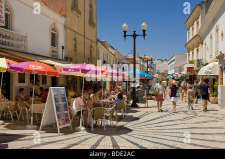 Portugal, the Algarve, Albufeira, the main shopping street - Stock Photo