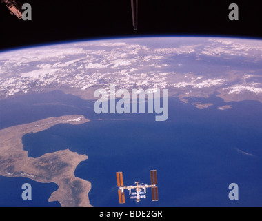 International Space Station over the Ionian Sea. - Stock Photo