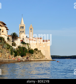 Bell Towers (Campaniles) of Cathedral of St Mary and St Andrew's Church in Kaldanac Quarter of Rab Town, Croatia - Stock Photo