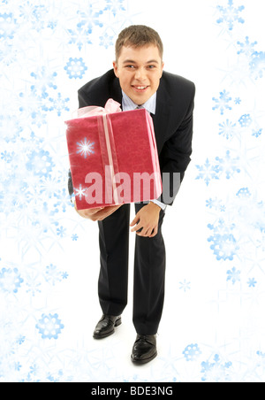 happy businessman with pink gift package and snowflakes - Stock Photo