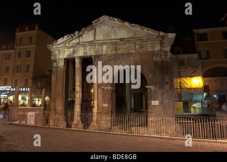 Rome, Italy. Nocturne view of the Portico d'Ottavia (Porticus Octaviae). - Stock Photo