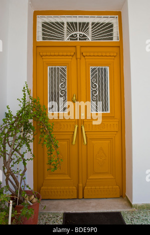 Typical traditional front door of house in Argostoli on the Greek Mediterranean island of Kefalonia Greece GR - Stock Photo
